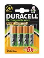 DURACEL RECHARGEABLE AA BATTERY  ( 4 per pack )