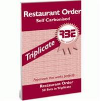 RBE Restaurant Order Book  Triplicate  ( 5 per pack ) ref#F0256